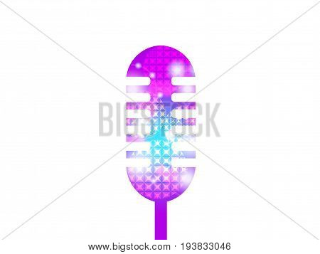 Karaoke microphone isolated on white background. Microphone for posters parties. Vector illustration