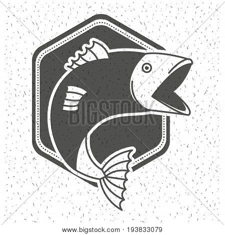 white background with sparkle of monochrome silhouette emblem with fish vector illustration