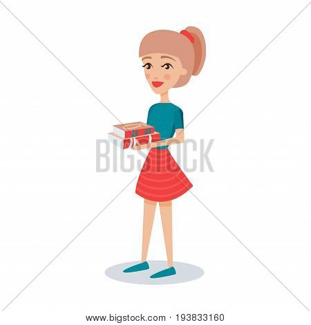 Pretty student girl standing and holding books in her hands cartoon character vector Illustration isolated on a white background