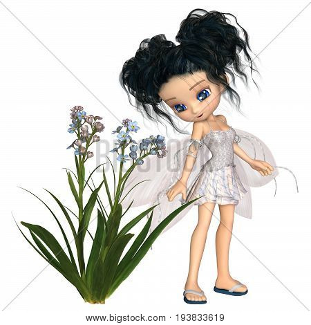 Fantasy illustration of a cute toon forget-me-not flower fairy with black hair, digital illustration (3d rendering)