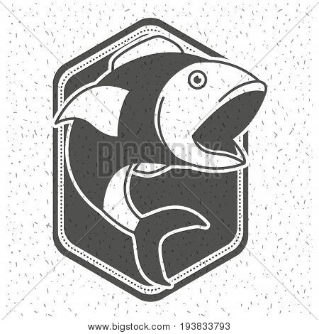 white background with sparkle of monochrome silhouette shield emblem with fish open big mouth vector illustration