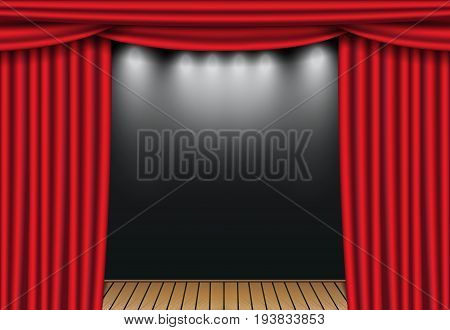 Red theater curtains with spotlight and wooden stage. Open velvet drapes. Vector illustration.