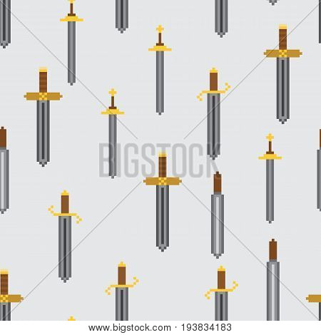 Seamless pattern with classic pixel swords. Cartoon steel blades for as backdrop for fun computer and console games