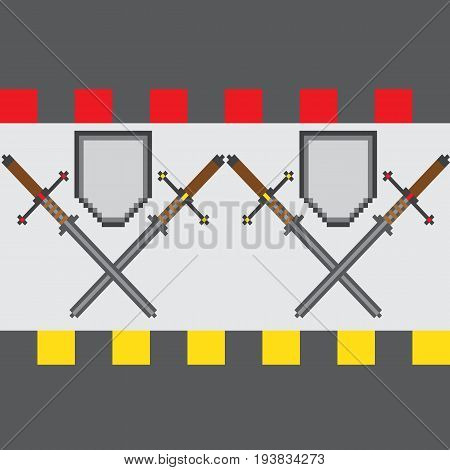 Seamless pattern with classic pixel swords and shields with a bright edging. Cartoon steel blades for as backdrop for fun computer and console games