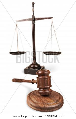 Justice scales gavel background paper isolated closeup