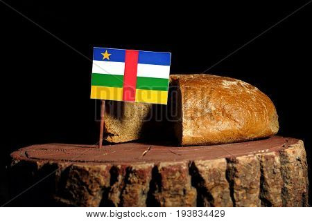 Central African Republic Flag On A Stump With Bread Isolated