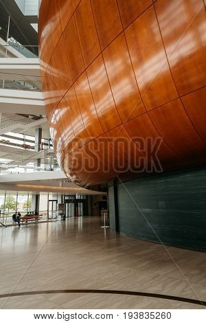 Copenhagen Denmark - August 12 2016: Interior view of the Copenhagen Opera House. It is the national opera house of Denmark and among the most modern opera houses in the world.