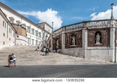 Rome Italy - August 18 2016: The Quirinal Palace a sunny summer day. It is a historic building in Rome official residence of the President of the Italian Republic.
