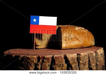 Chilean Flag On A Stump With Bread Isolated