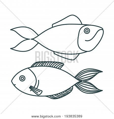 monochrome sketch silhouette pair of types fish vector illustration