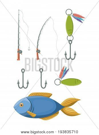 colorful set collection elements to fishing rod and hooks vector illustration