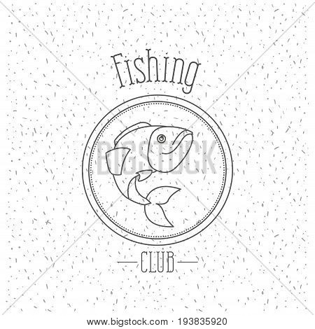 white background with sparkle of monochrome silhouette emblem with trout fish logo fishing club vector illustration