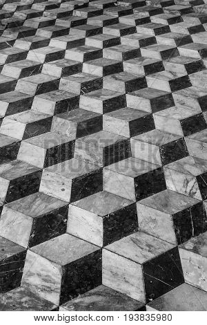 Floor tiles background 3d effect. A vintage floor of an old house with plot and three-dimensional effect. Historical building.