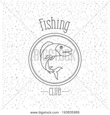 white background with sparkle of monochrome silhouette emblem with bass fish logo fishing club vector illustration