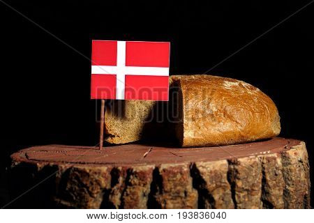 Danish Flag On A Stump With Bread Isolated