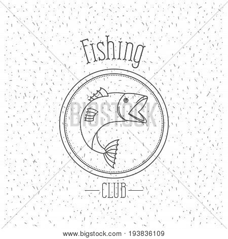white background with sparkle of monochrome silhouette emblem with salmon bass fish logo fishing club vector illustration