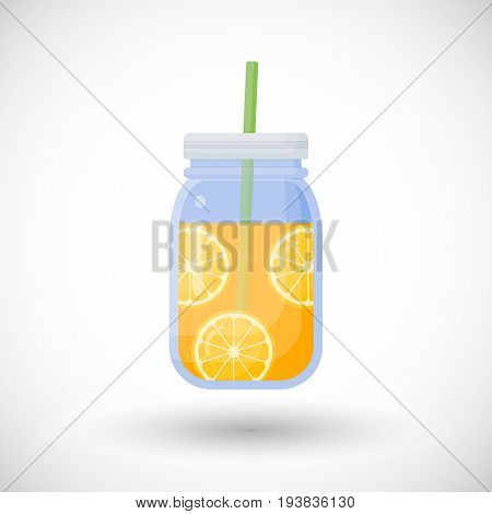 Orange juice in mason jar vector flat icon Flat design of smoothie bar drink food object with round shadow isolated on the white background cute vector illustration with reflections