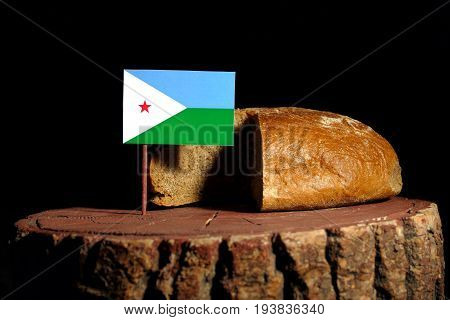 Djibouti Flag On A Stump With Bread Isolated