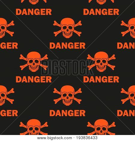Seamless background with skull, crossbones and a warning label.