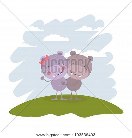 color scene sky landscape and grass with couple of hippos embraced vector illustration