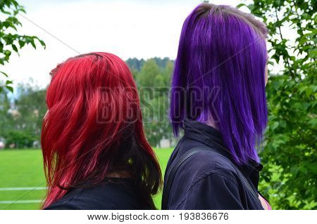 Two people with intensely colored hair -portrait