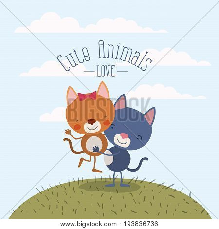 color scene sky landscape and grass with couple of kittens one carrying the other cute animals love vector illustration