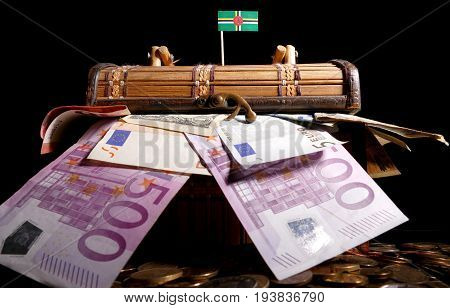 Dominican Flag On Top Of Crate Full Of Money