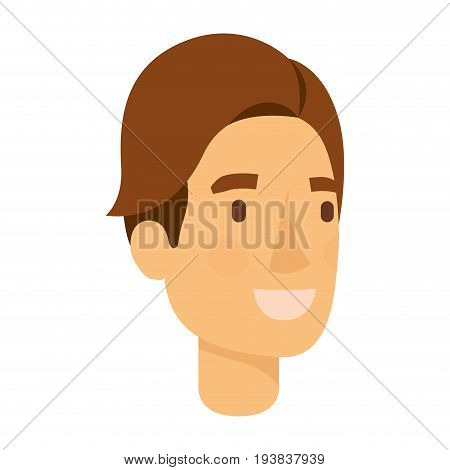 colorful silhouette of man face with brown hair side fringe vector illustration
