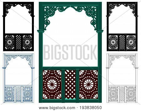 Picturesque Wooden Arbor Element Isolated Illustration Vector