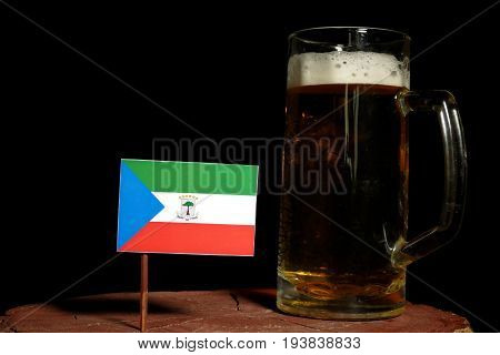 Equatorial Guinea Flag With Beer Mug Isolated On Black Background