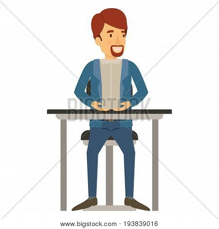 colorful silhouette of man with van dyke beard in casual clothes and brown hair and sitting in chair in desktop vector illustration