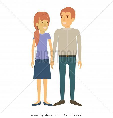colorful silhouette of man and woman standing and her with ponytail and him in casual clothes and both with reddish hair vector illustration