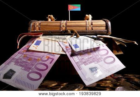 Eritrean Flag On Top Of Crate Full Of Money