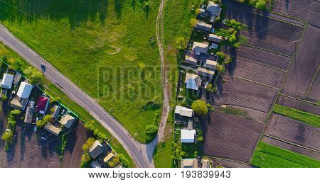 Road in the village from a bird's-eye view.