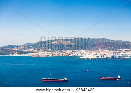 Gibraltar Strait With Passing Tankers