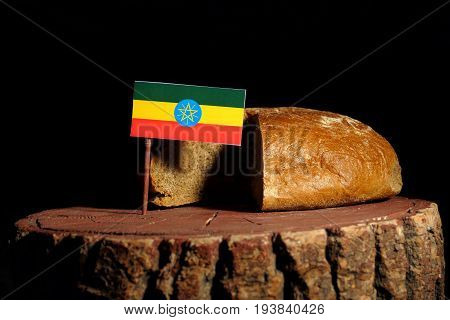 Ethiopian Flag On A Stump With Bread Isolated