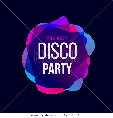 Disco Party trend frame. Club music typography. Vector template