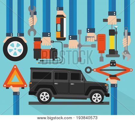 Puncture wheelcar  service concept design flat.Vector illustration