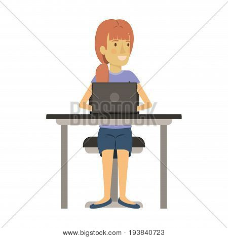 colorful silhouette of woman with ponytail hair and sitting in chair in desk with laptop computer vector illustration