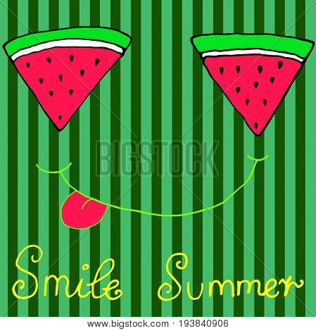 Joyful sliced watermelon slices smiling showing tongue isolated striped background. Hand drawn illustration. Vector art for adults and children. Coloring bookpagetextilesprintingposterdesign