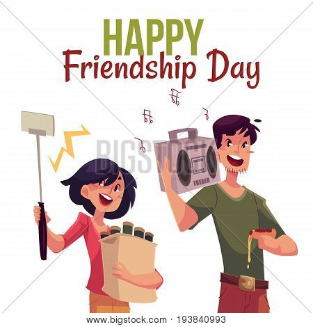 Happy friendship day greeting card design with friends hurrying to a party, fetching beer, music, making selfie, cartoon style vector illustration isolated on white background.