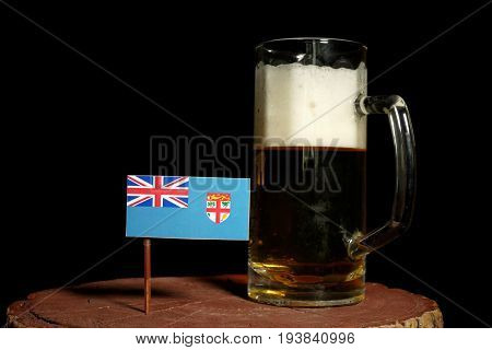 Fijian Flag With Beer Mug Isolated On Black Background