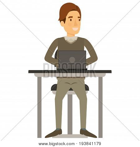colorful silhouette of man in formal clothes and brown hair side fringe and sitting in chair in desk with laptop computer vector illustration