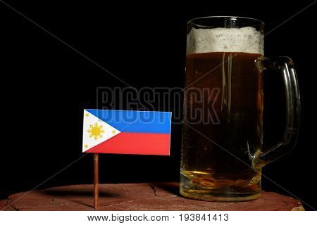 Philippines Flag With Beer Mug Isolated On Black Background