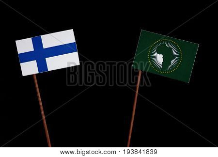 Finnish Flag With African Union Flag Isolated On Black Background