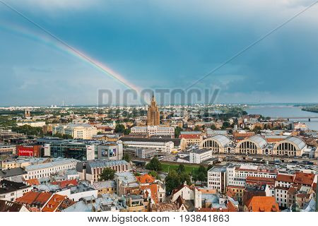 Riga, Latvia - July 1, 2016: Riga, Latvia. Building of Latvian Academy of Sciences, built on model of Moscow Stalin skyscrapers . Bureau and administration of Academy of Sciences, humanitarian institutions, Council for Science.