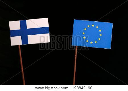 Finnish Flag With European Union (eu) Flag Isolated On Black Background