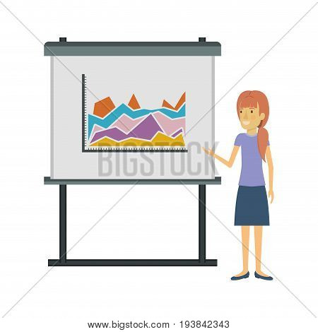 white background with businesswoman with ponytail hairstyle making presentation vector illustration