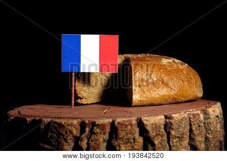 French Flag On A Stump With Bread Isolated