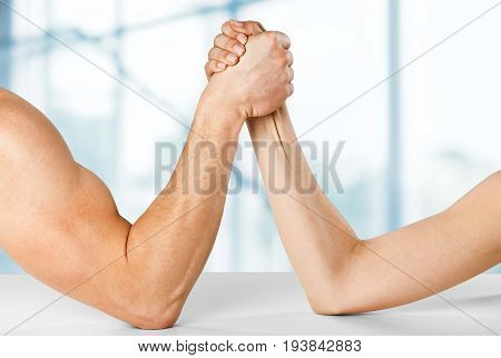 Woman arm man strong relationship fight weak